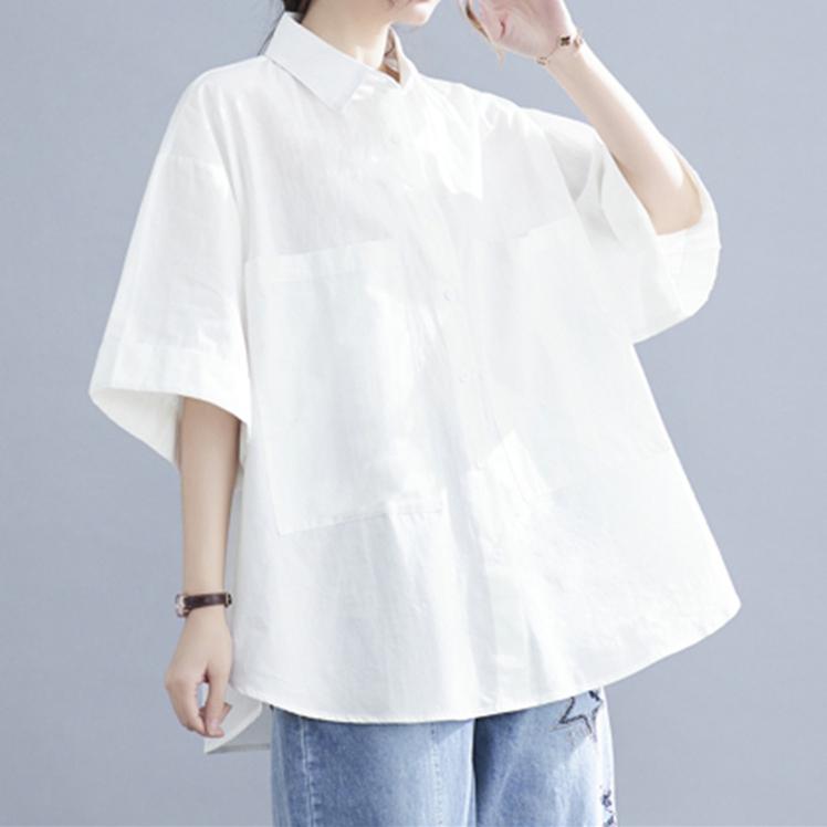 無地シンプル夏折り襟シングルブレスト五分袖シャツ