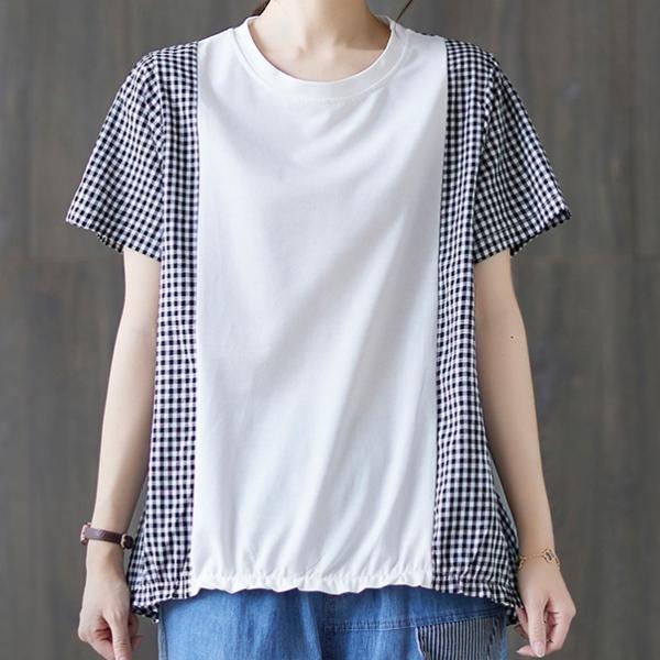 チェック柄半袖シンプル切り替え春夏ラウンドネックプルオーバーTシャツ
