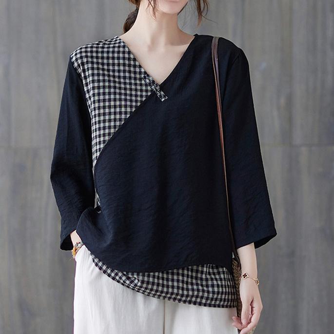 チェック柄半袖シンプルカジュアル夏VネックプルオーバーTシャツ