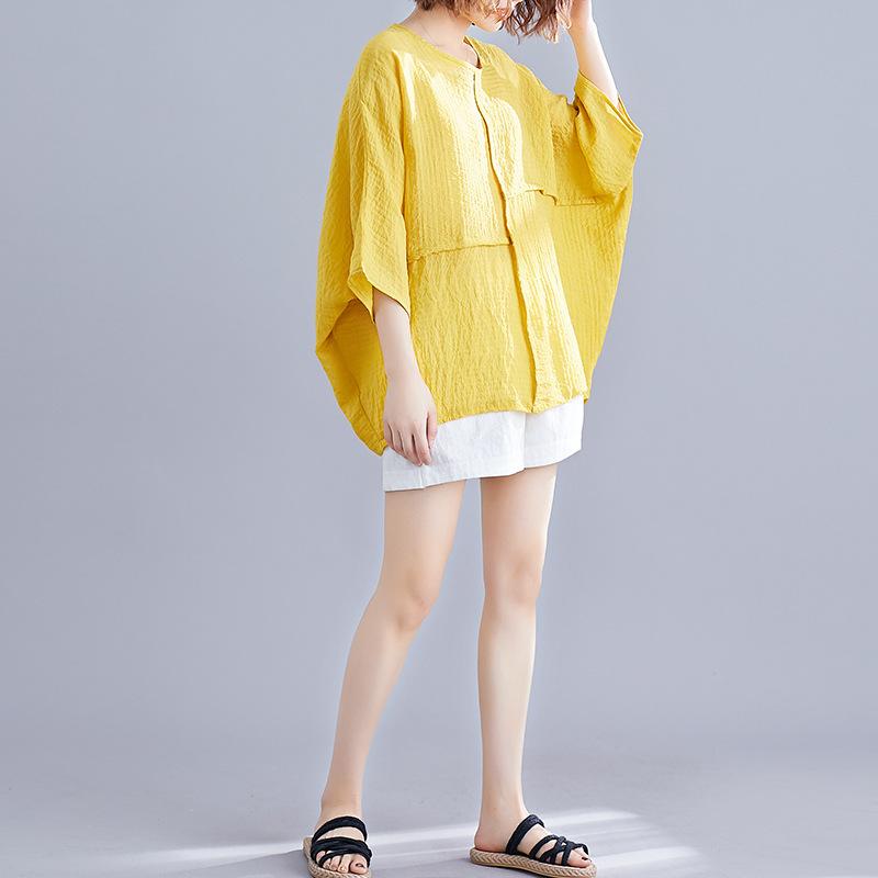 無地半袖シンプルファッションドルマンスリーブ切り替え夏ラウンドネックプルオーバーTシャツ