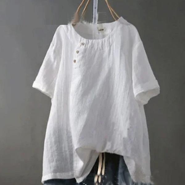 無地 半袖 シンプル ボタン 夏 ラウンドネック プルオーバー Tシャツ ブラウス 体型カバー ゆったり カジュアル クルーネックt