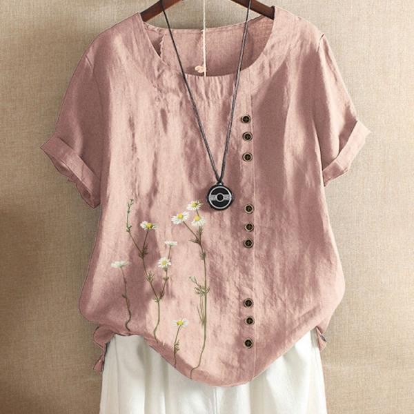 プリント半袖シンプルカジュアルボタン夏ラウンドネックプルオーバー花柄Tシャツ
