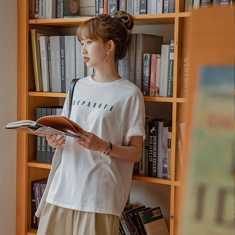無地半袖シンプルカジュアル通勤/OLレトロ韓国系プリントロング夏ラウンドネックプルオーバーTシャツ