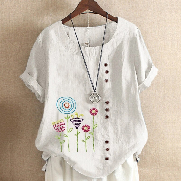 プリント半袖シンプルキュートプリントボタン夏ラウンドネックプルオーバーTシャツ