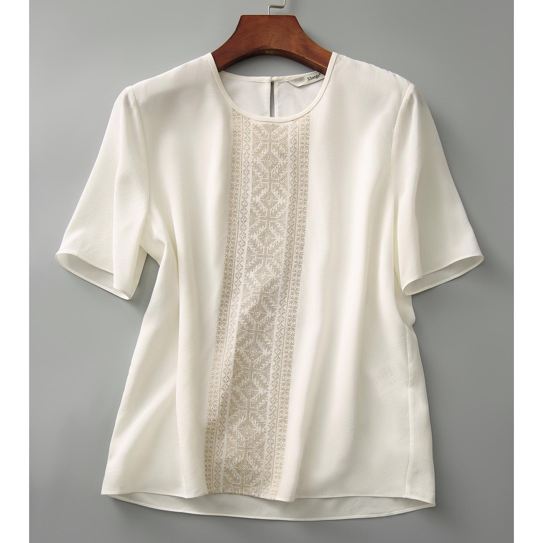 ストライプ柄半袖シンプルファッションレトロエレガント刺繍切り替え春夏ラウンドネックプルオーバーTシャツ