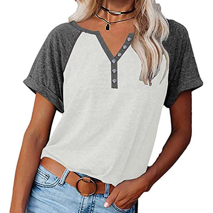 配色半袖カジュアル切り替えボタン春夏VネックプルオーバーTシャツ