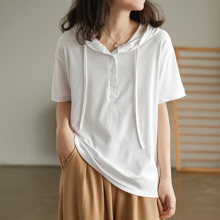 無地半袖カジュアルフェミニンタッセルボタンショート丈夏フード付きプルオーバーボタンTシャツ