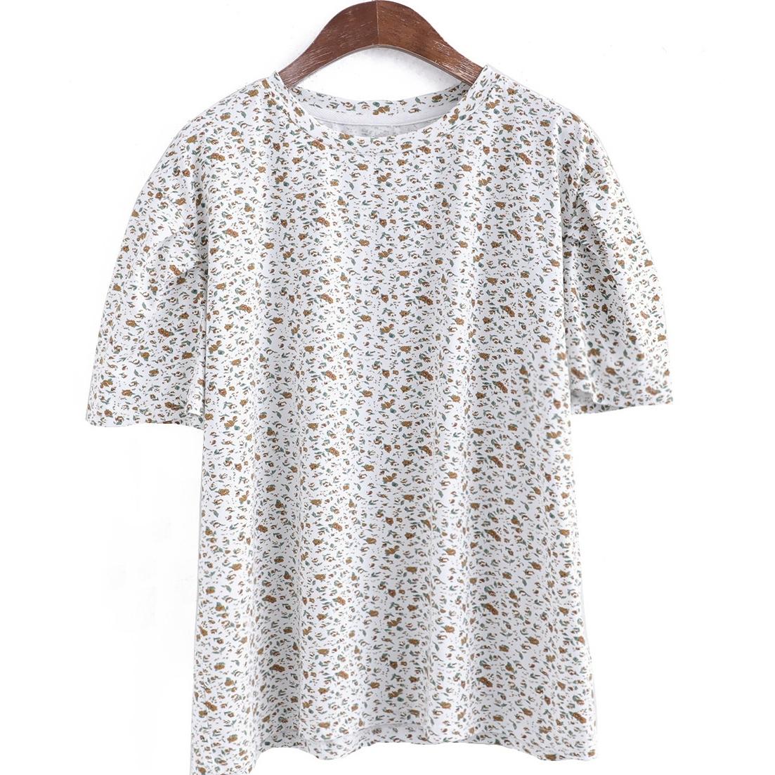 小柄半袖レトロプリント夏ラウンドネックプルオーバーTシャツ