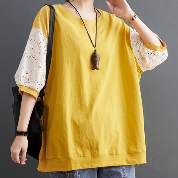 配色コットン半袖シンプルランタンスリーブ透かし彫り切り替え夏ラウンドネックプルオーバーイエローグリーンTシャツ