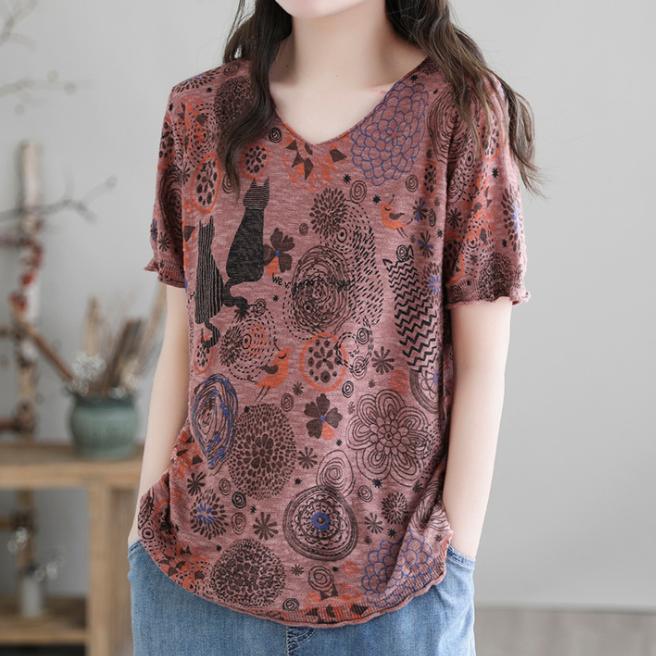 プリント動物柄コットン半袖ファッションカジュアルプリント夏Vネックプルオーバー花柄Tシャツ