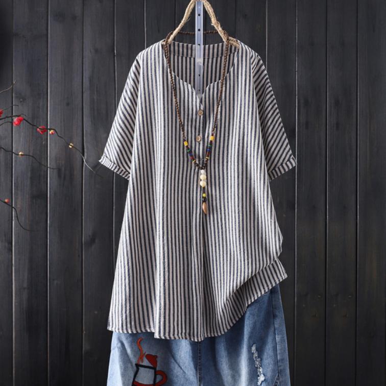 ストライプ柄半袖レトロ一般ボタン一般春夏VネックプルオーバーTシャツ
