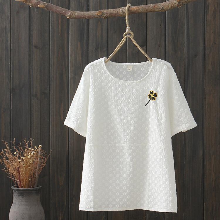 無地半袖シンプル刺繍ショート丈春夏ラウンドネックプルオーバーTシャツ