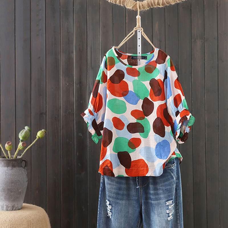 プリント半袖シンプルカジュアル一般プリント一般夏ラウンドネックプルオーバーTシャツ