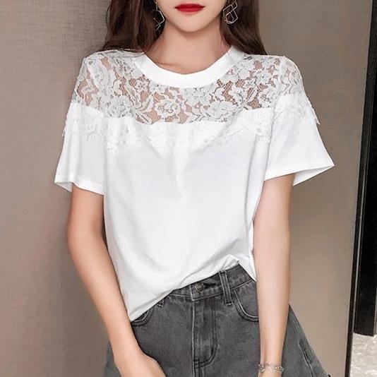 無地半袖ファッションキュート透かし彫り切り替え夏ラウンドネックプルオーバーTシャツ