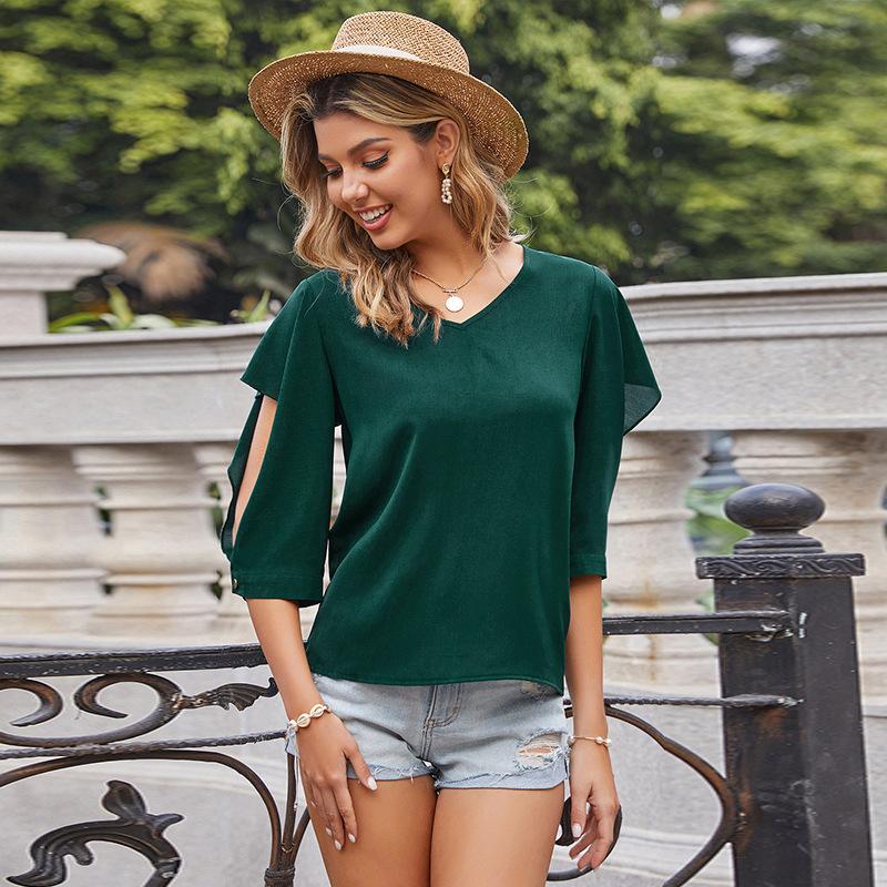 無地ファッションフェミニン切り替え夏Vネックプルオーバー五分袖Tシャツ