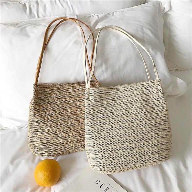 春夏草編みマグネット肩掛けハンドバック無地カジュアル切り替えショルダーバッグ・ハンドバッグ