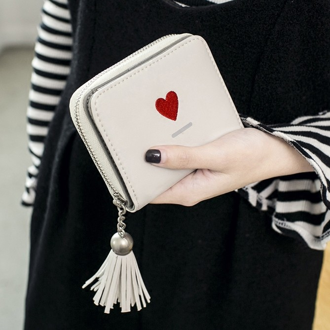 オールシーズン合成革ファスナー手持ちプリントカジュアル刺繍タッセルハンドバッグ・財布