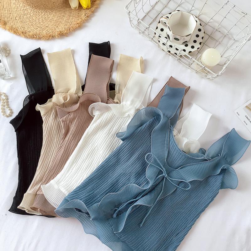 無地ポリエステルノースリーブファッション切り替え一般夏キャミソールプルオーバータンクトップ・キャミソール