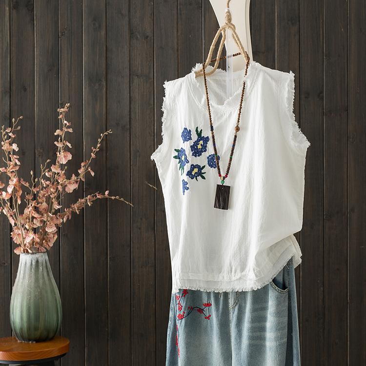 ノースリーブレトロフリンジ刺繍春夏ラウンドネックプルオーバー花柄タンクトップ・キャミソール