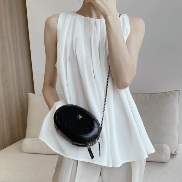 無地ノースリーブシンプルノースリーブギャザー飾りロング夏ラウンドネックボタングレーホワイトシャツ・ブラウス