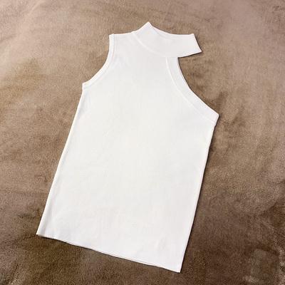 無地ポリエステルノースリーブファッション切り替え一般夏ラウンドネックプルオーバーブラックタンクトップ・キャミソール