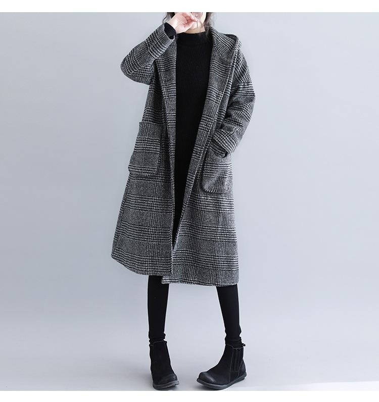 チェック柄長袖シンプル秋冬コート