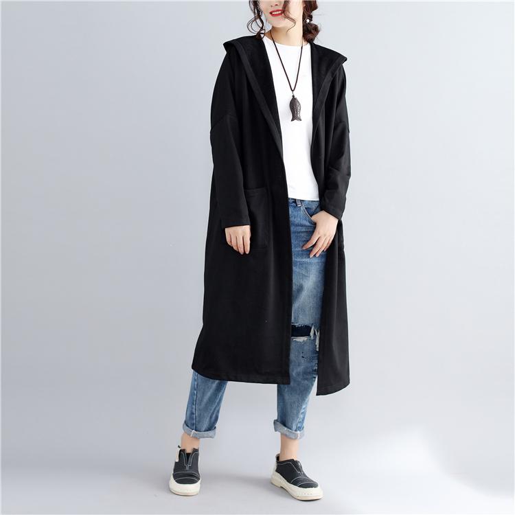 無地長袖シンプルファッションカジュアルレトロ一般なしすね丈秋冬フード付きカーディガンコート