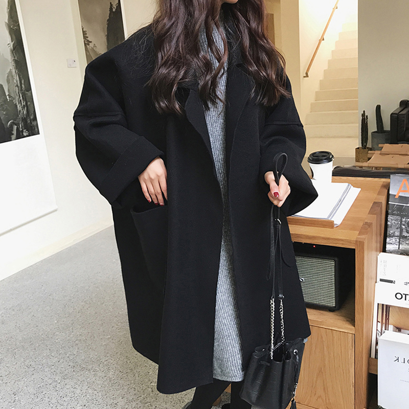 無地長袖シンプルファッションフェミニン一般ボタンショート丈秋冬折り襟ボタンコート