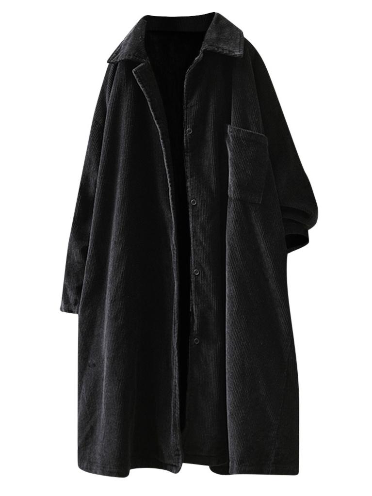 無地長袖シンプル森ガール一般ボタン一般秋冬折り襟シングルブレストコート