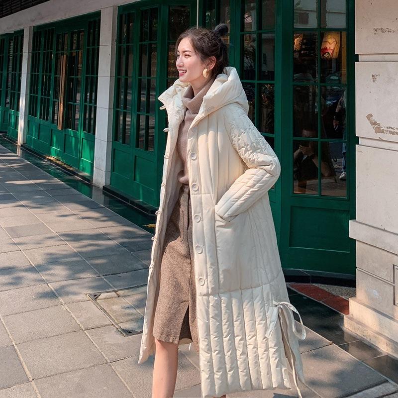 無地長袖シンプルロング秋冬フード付きジッパーダウンジャケット・綿コート