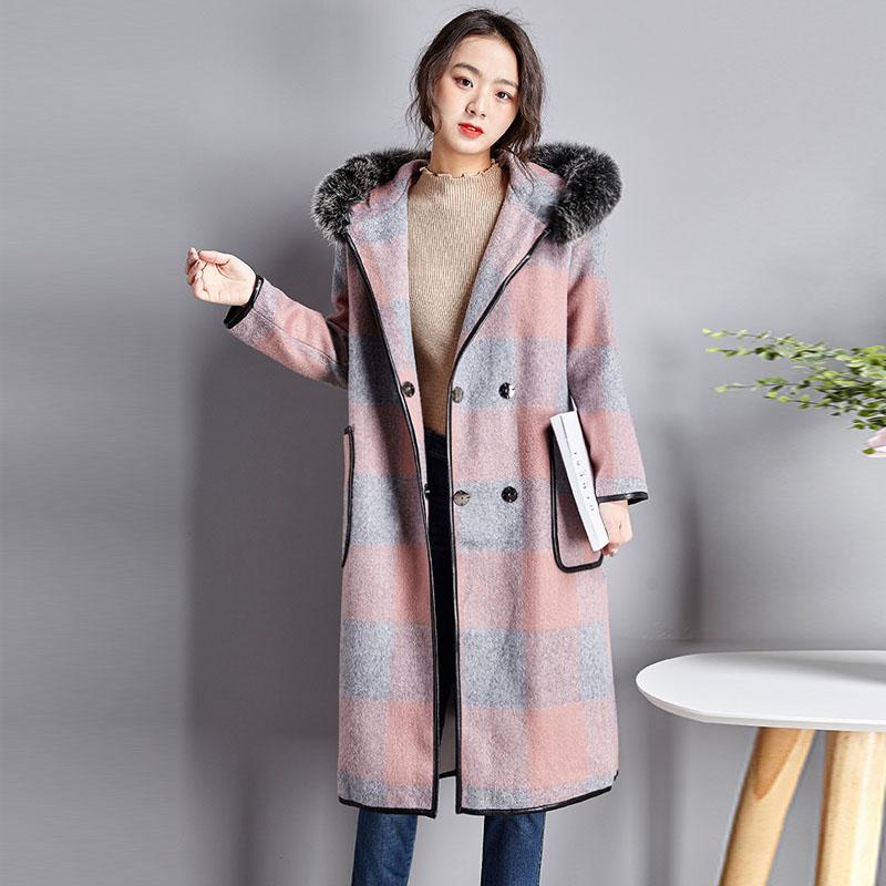 チェック柄ポリエステル長袖ファッション一般切り替えロング秋冬フード付きダブルブレストオレンジピンクコート