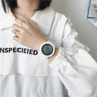 シリカゲル 電子時計 ラウンド 防水深度30m ファッション カジュアル レトロ 腕時計 韓国ファッション