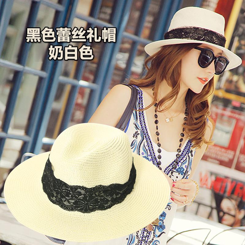 リボンボウタイ草編みサークル帽子