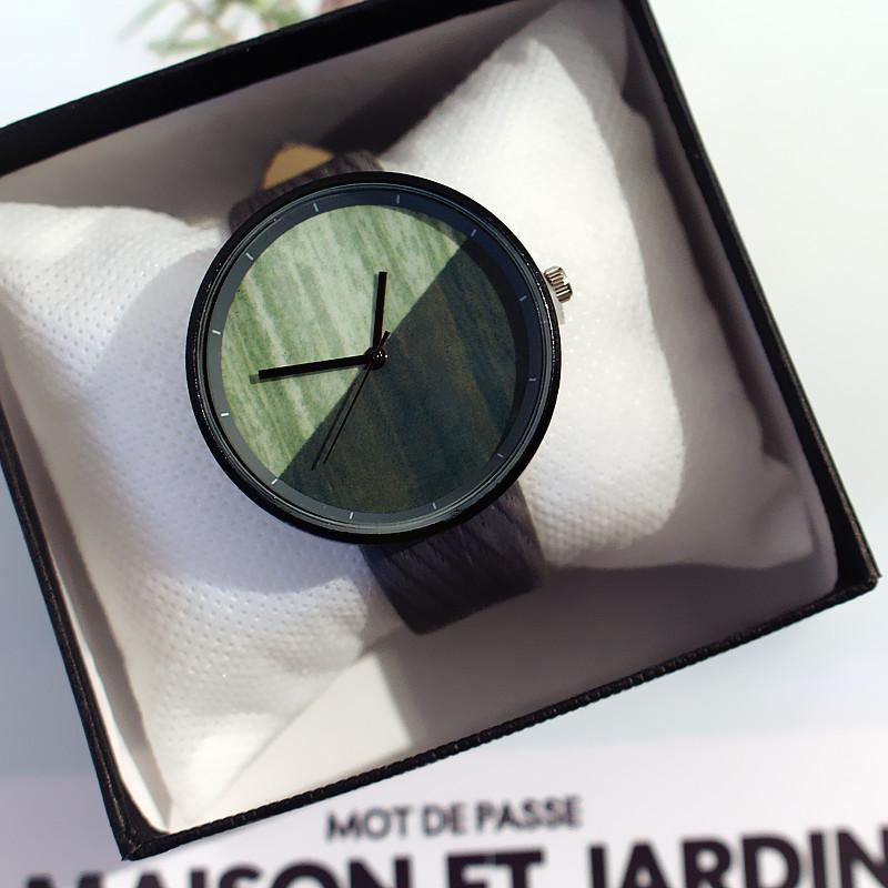 合金木クォーツ時計その他配色縁取りラウンドカジュアル防水機能無し腕時計