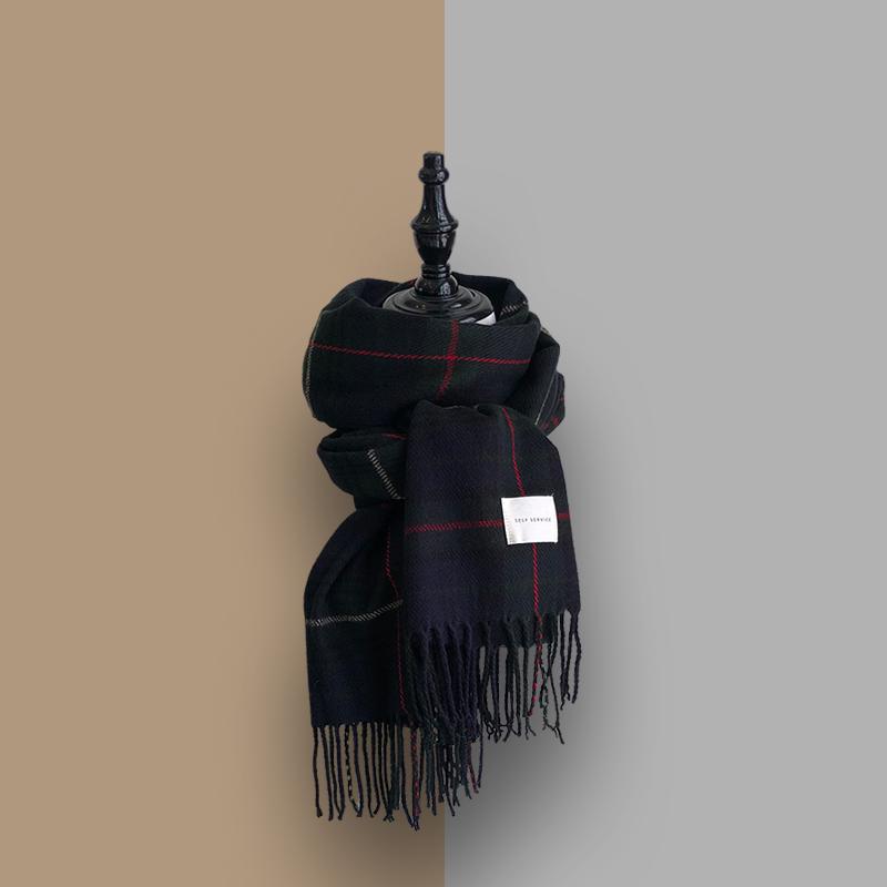 チェック柄配色シンプル定番ファッションカジュアルレトロフリンジ秋冬マフラー・手袋・靴下