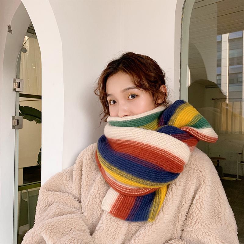 ストライプ柄ファッション韓国系なし秋冬写真通りマフラー