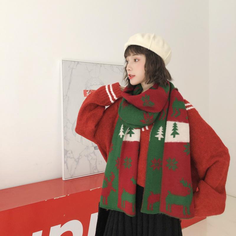 動物柄韓国系プリント冬写真通りマフラー