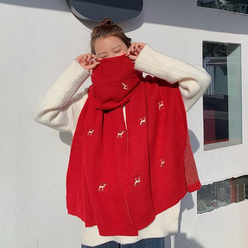 動物柄韓国系刺繍秋冬ワインレッドイエローピンクレッドブルーマフラー