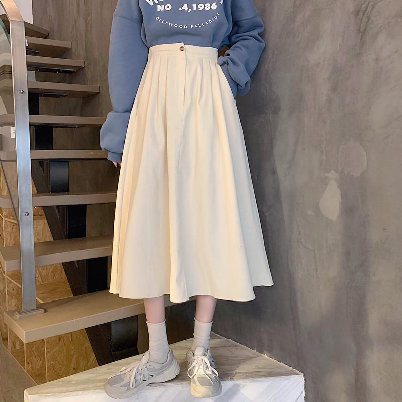 無地アクリル生地レトロスウィート学園風韓国系ボタンロング秋冬ハイウエストAラインスカート