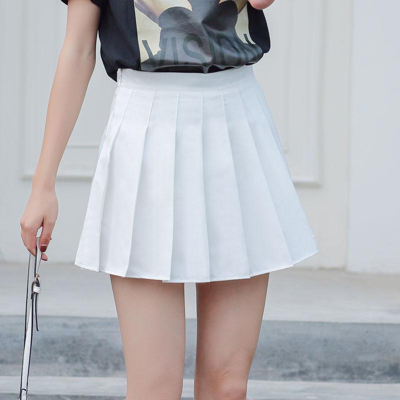 チェック柄ポリエステルシンプル学園風なしショート丈夏写真通りハイウエストプリーツスカートスカート