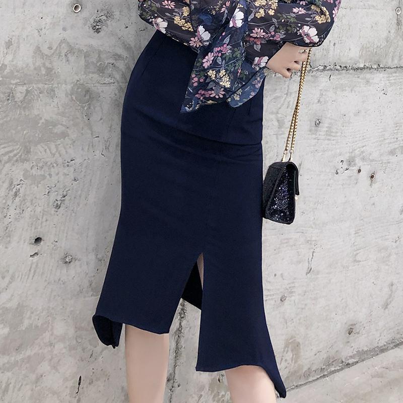 無地通勤/OL韓国系エレガントスリットロング春夏ハイウエスト不規則スカート