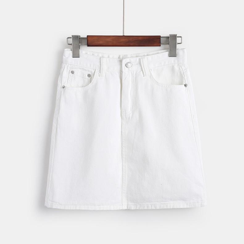 無地デニムファッション切り替え膝上夏ハイウエストAラインスカート