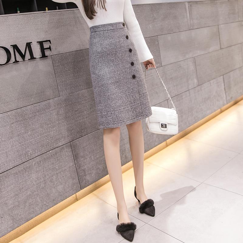 チェック柄ポリエステルファッション切り替え一般春秋写真通りハイウエストスリムワンピーススカート
