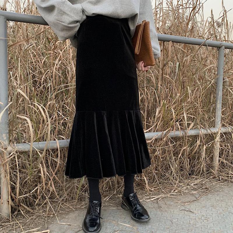 無地ニットファッションなし一般秋冬写真通りハイウエストフィッシュテールスカート
