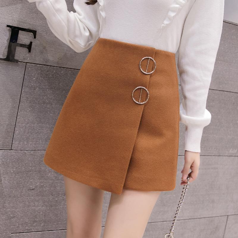 無地ラシャシンプルファッション切り替え膝上秋冬写真通りハイウエストAラインスカート