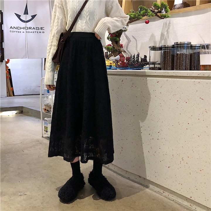 無地ポリエステルエレガント透かし彫りすね丈春夏ブラックアプリコットハイウエストAラインスカート
