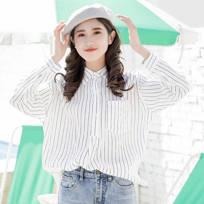 ストライプ柄長袖シンプルファッションスウィート学園風韓国系一般ボタン一般夏POLOネックシングルブレストカーディガン