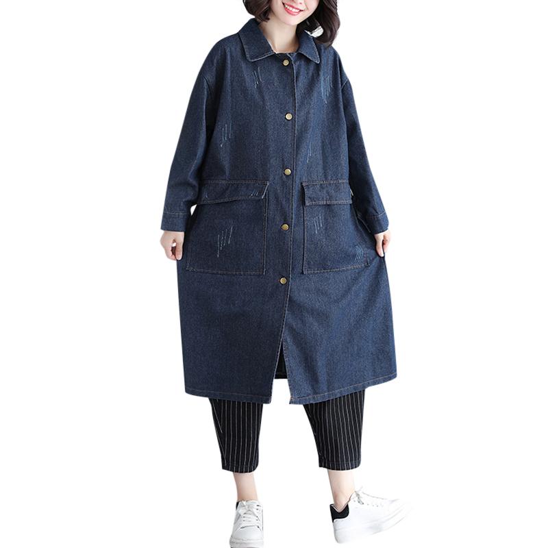 無地デニム長袖ファッション一般切り替えロング秋冬折り襟シングルブレスト写真通りトレンチコート