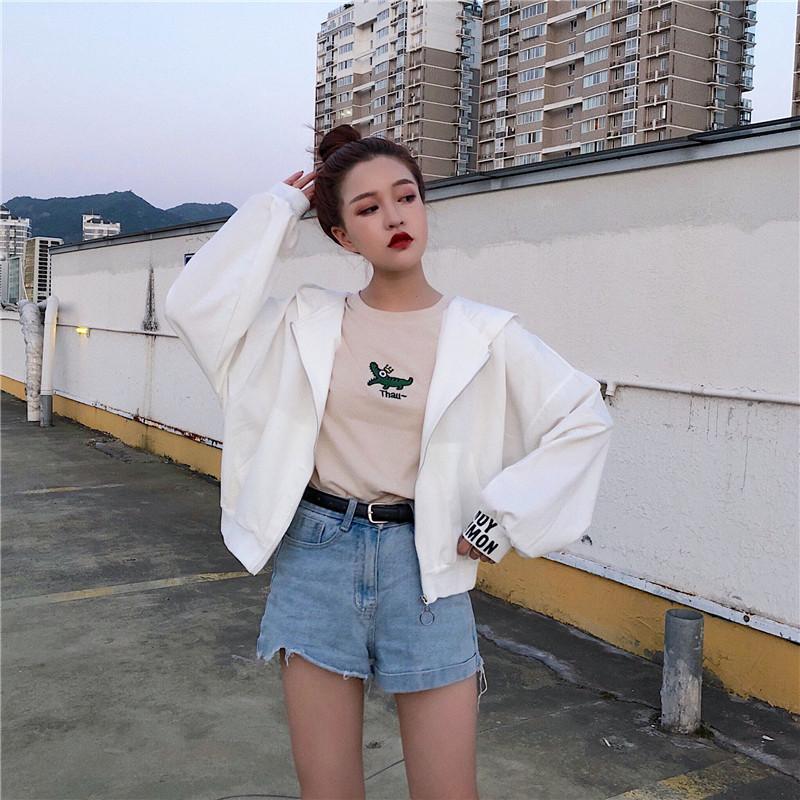アルファベットポリエステル長袖シンプルファッションカジュアル韓国系一般ファスナーショート丈春春秋フード付きジッパージャケット