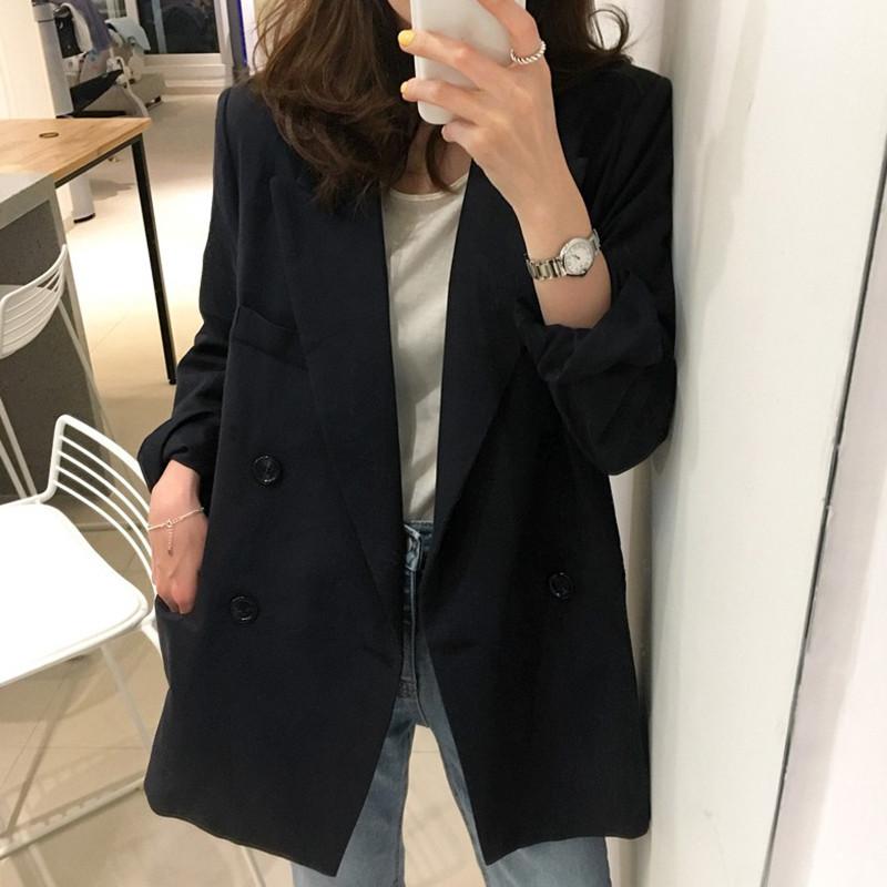 無地ポリエステル長袖シンプルファッション韓国系一般切り替えボタンショート丈春秋折襟ダブルブレストブラックスーツ